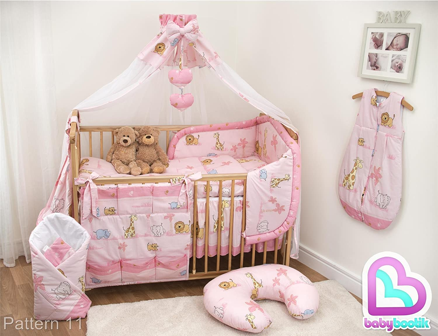 10 Piece Cot Bedding Set with Safety Padded Bumper (Fits Cot 120x60 cm, Pattern 2) BabyComfort