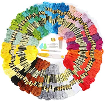 Crafts Floss Friendship Bracelets Floss Cross Stitch Threads Premium Rainbow Color Embroidery Floss 105 Skeins Per Pack and Free Set of Embroidery Needles