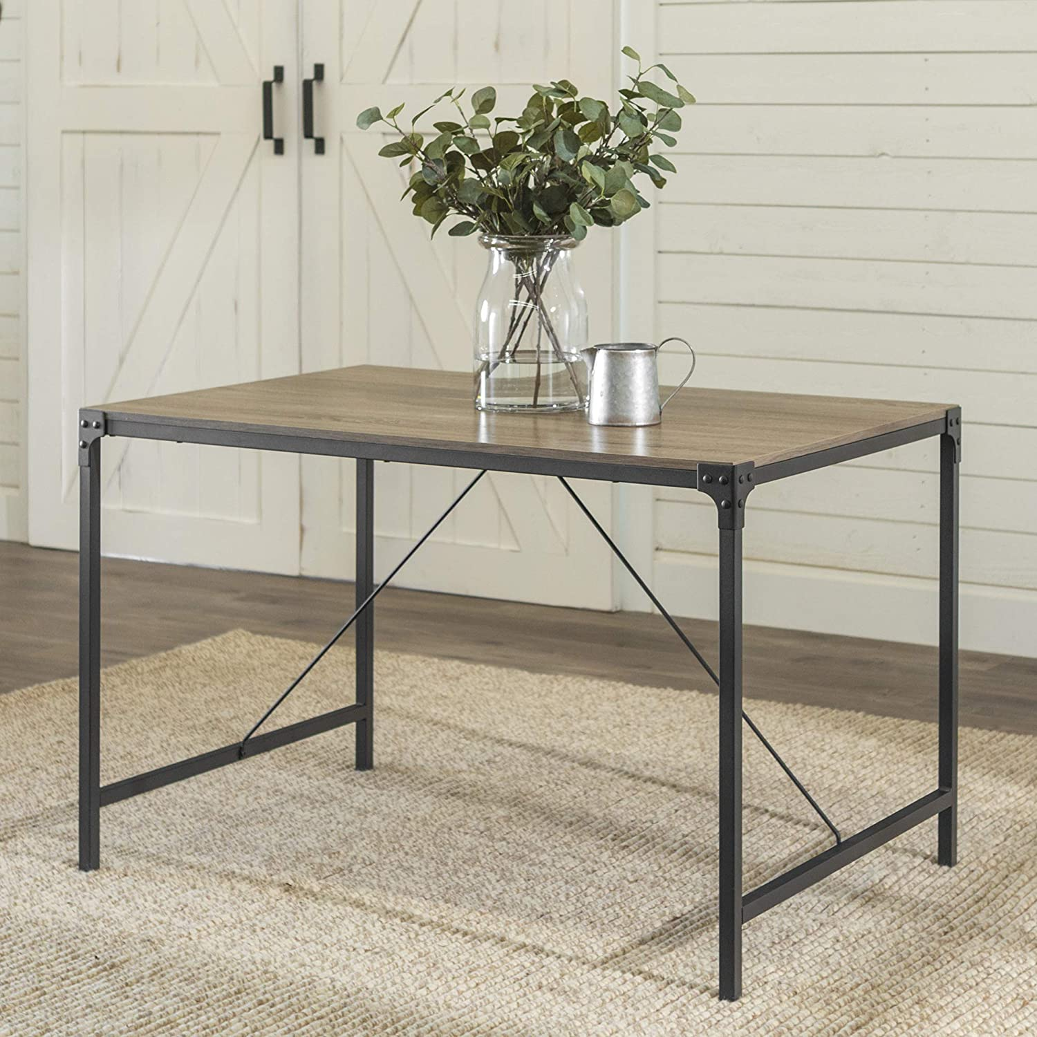 WE Furniture 4 Person Modern Industrial Farmhouse Wood Rectangle Kitchen Dining Table, 48 Inch, Grey/Brown