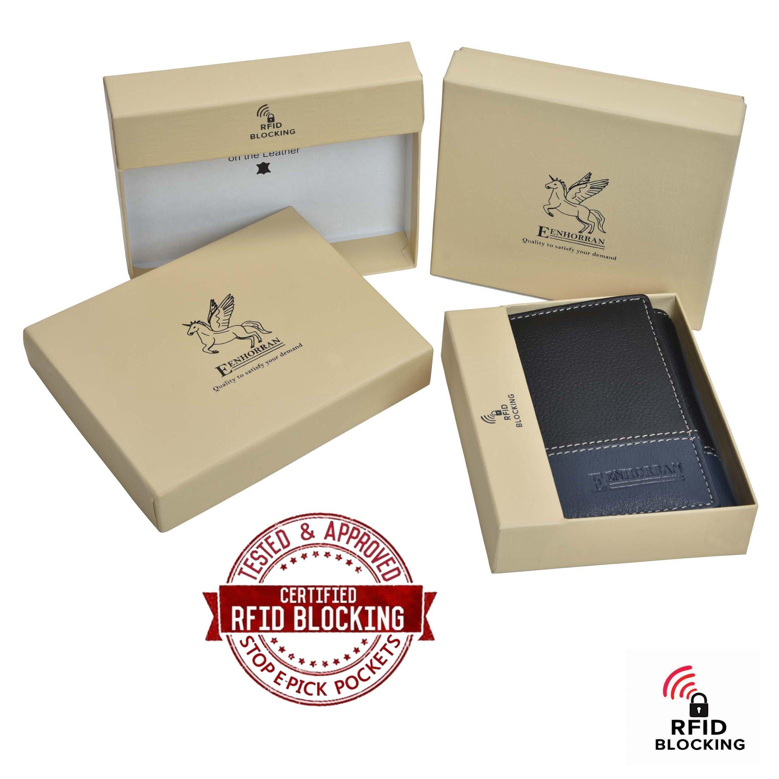 RFID Leather Trifold Wallets for Men - Handmade Slim Mens Wallet 6 Credit Card ID Window and Gift Box Secure by EENHORRAN (Black & Navy) by EENHORRAN (Image #6)