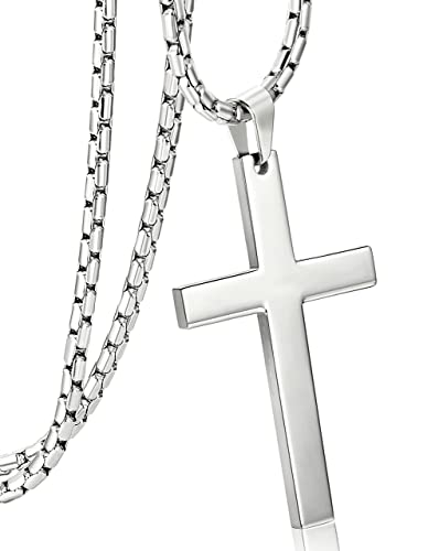 Orazio 3mm stainless steel chain cross pendant necklace for men orazio 3mm stainless steel chain cross pendant necklace for men silver tone 22 inches aloadofball Images