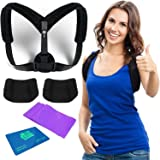 Posture Corrector for Women and Men | Back Brace for Posture Correction | Back and Shoulder Postural Corrector | Pads and Stretch Band included by HProducts