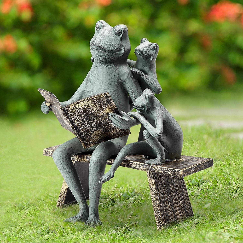 SPI Home 53029 Reading Frog Family Garden Sculpture - Aluminum