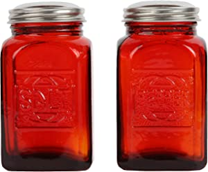 Trenton Gifts Old-Fashioned Salt and Pepper Shakers, Red Depression-Era Glass Kitchen Decor