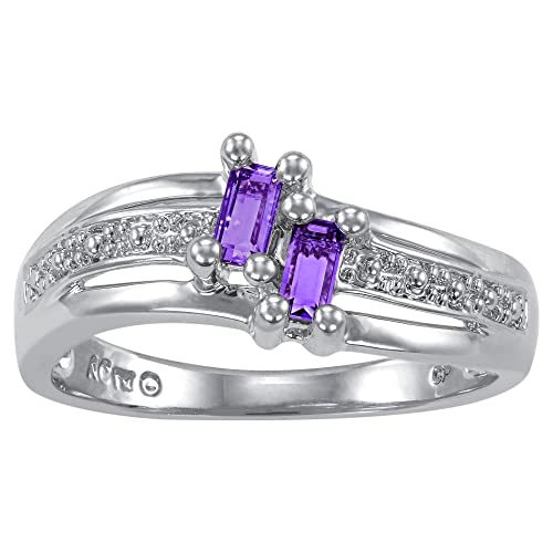 ArtCarved Love Moments Sterling Silver Simulated Birthstone Ring