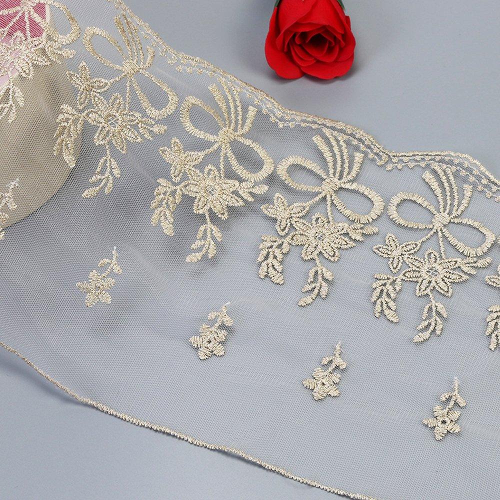 Cinta de encaje bordada de tela para costura, diseño floral de ...