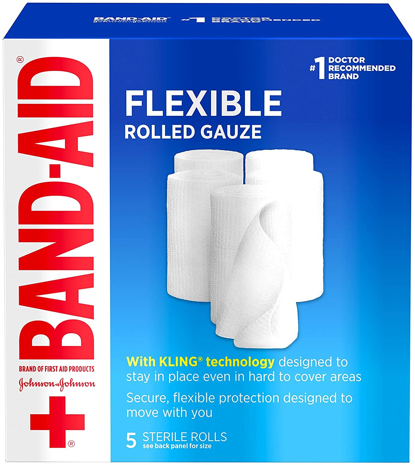 Band Aid Brand of First Aid Products Flexible Rolled Gauze Dressing for Minor Wound Care, Soft Padding and Instant Absorption, 3 Inches by 2.1 Yards, Value Pack 5 ct: Health & Personal Care