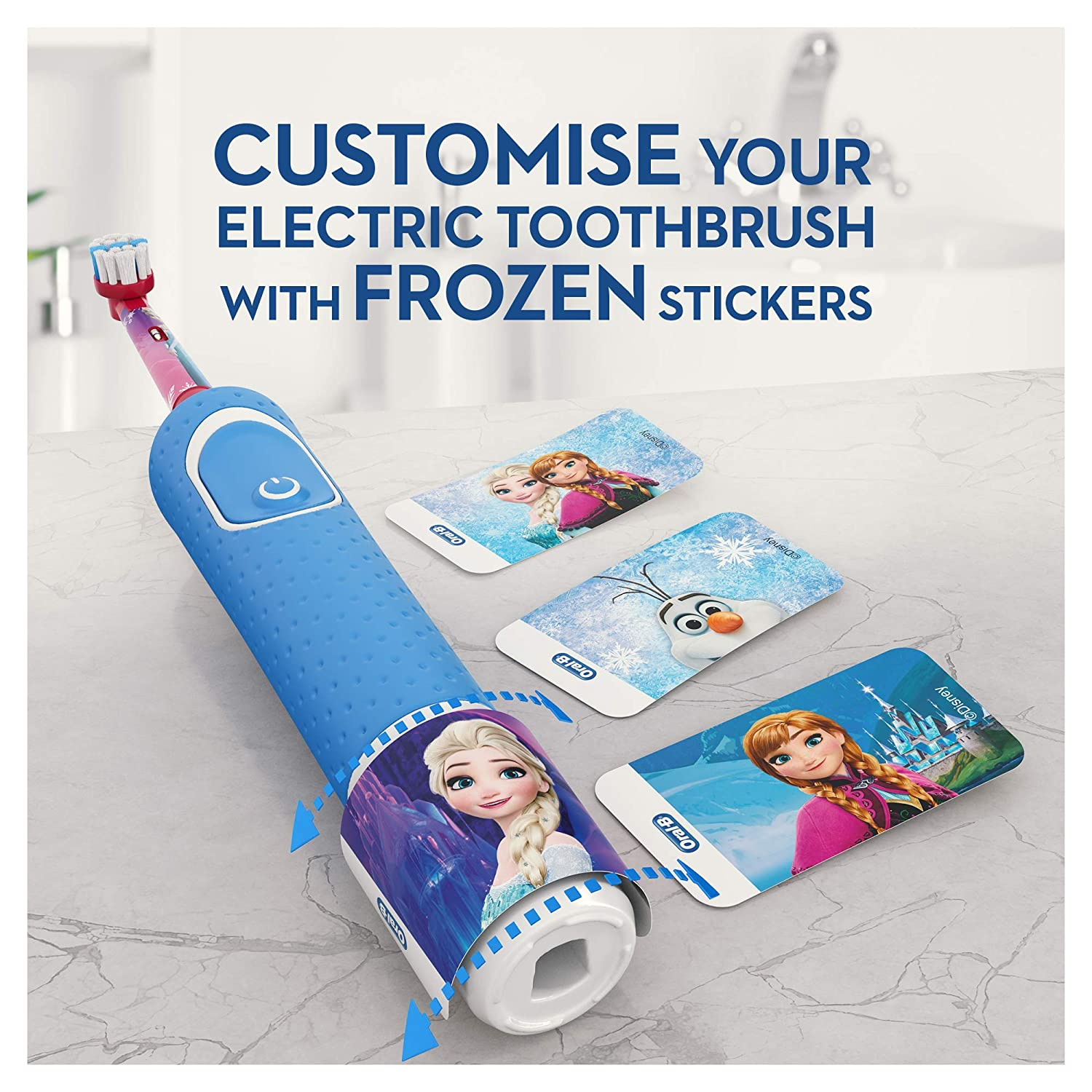 Oral-B Stages Power Kids Electric Toothbrush Featuring Frozen Characters, 1  Handle, 1 Brush Head, UK 2 Pin Plug for Ages 3+