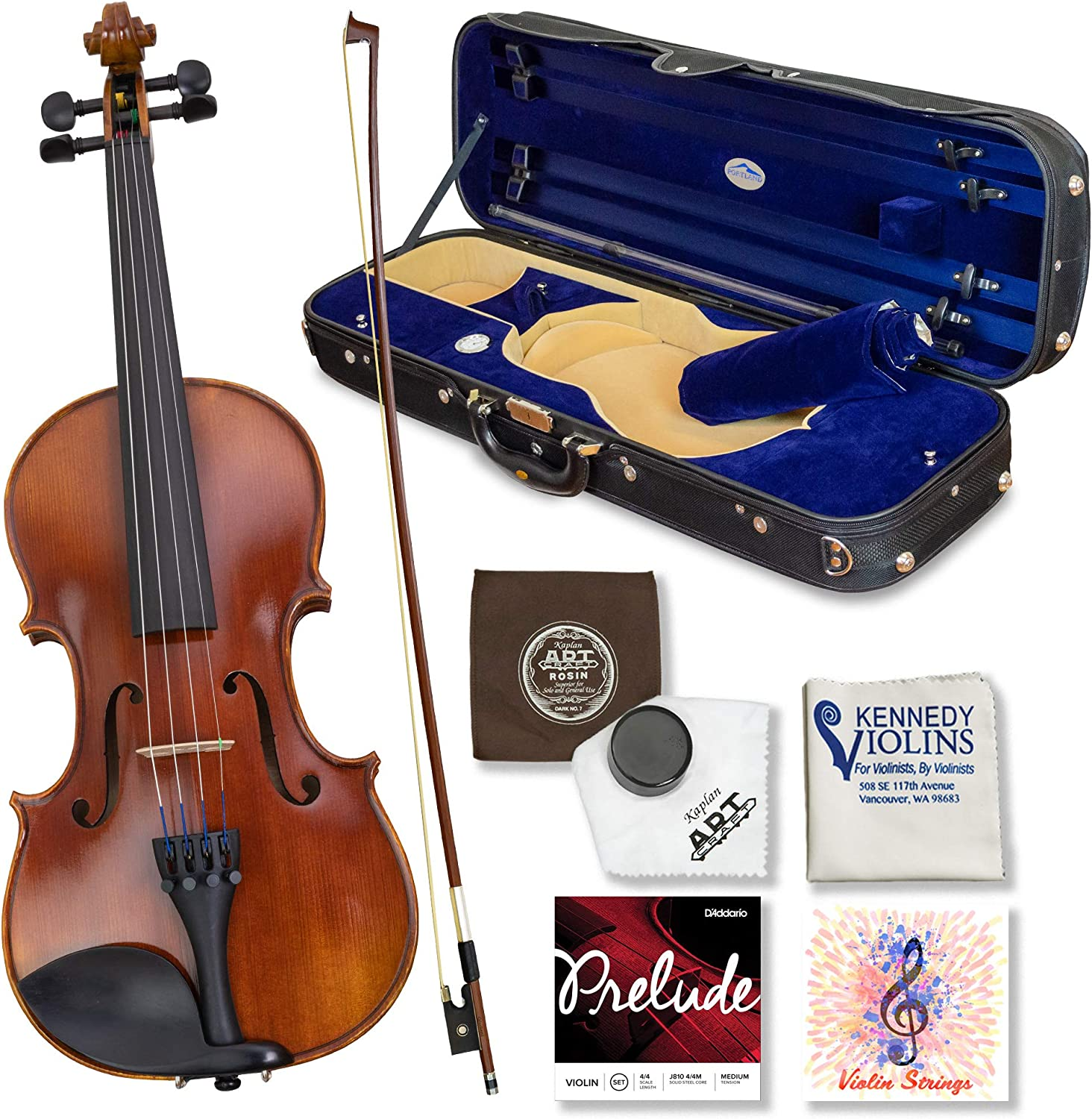 Louis Carpini G2 Violin Outfit 1/2 Size – Carrying Case and Accessories Included – Highest Quality Solid Maple Wood and Ebony Fittings By Kennedy Violins