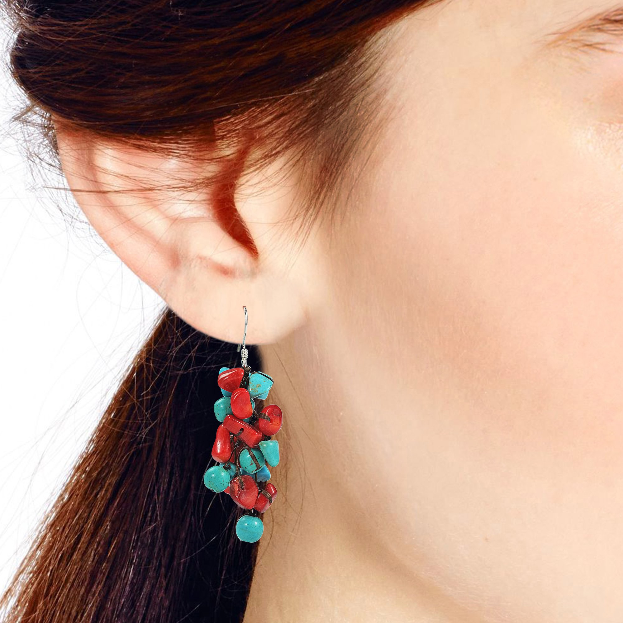 Cluster Simulated Turquoise and Reconstructed Coral Drop .925 Sterling Silver Earrings by AeraVida (Image #4)