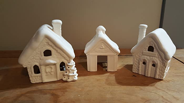 Amazon.com: Santa Town Christmas Village. Unpainted Ceramic Bisque ...
