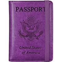 RFID Passport Holder Cover-Travel Wallet Card Case for Women&Man With Bonus Pen
