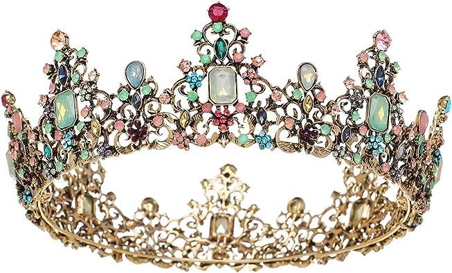 Accessoire de cheveux pour concours de beaut/é bal de promo Couronne baroque magnifique avec strass pour femme f/ête dHalloween