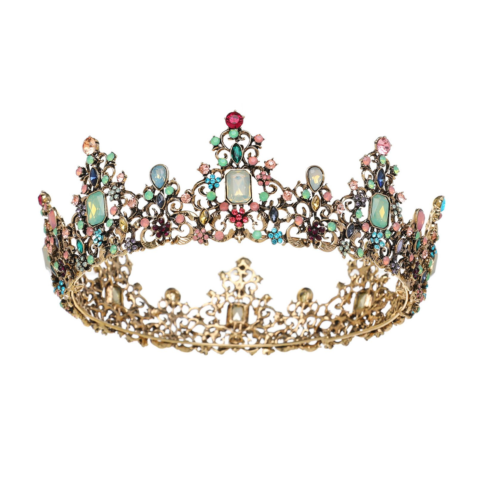 SWEETV Baroque Headpieces Round Queen Crown Jeweled Tiara Party Hats Hair Decorations with Gemstones