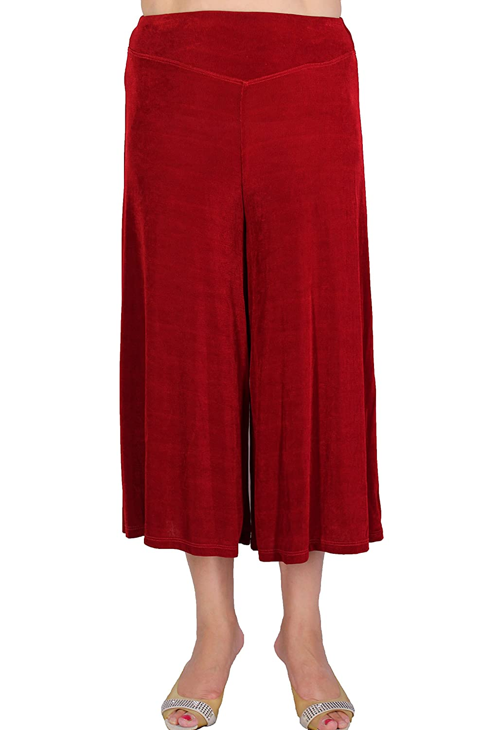 Calison Women's Slinky High Waist Stretch Guacho Pants Made in USA Red