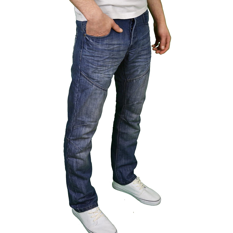 Enzo Mens Designer Classic Regular Fit Straight Leg Jeans