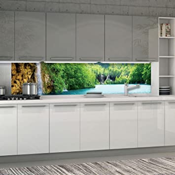 FORWALL Fototapete Küche Vlies Tapete Wasserfall Wanddeko ...