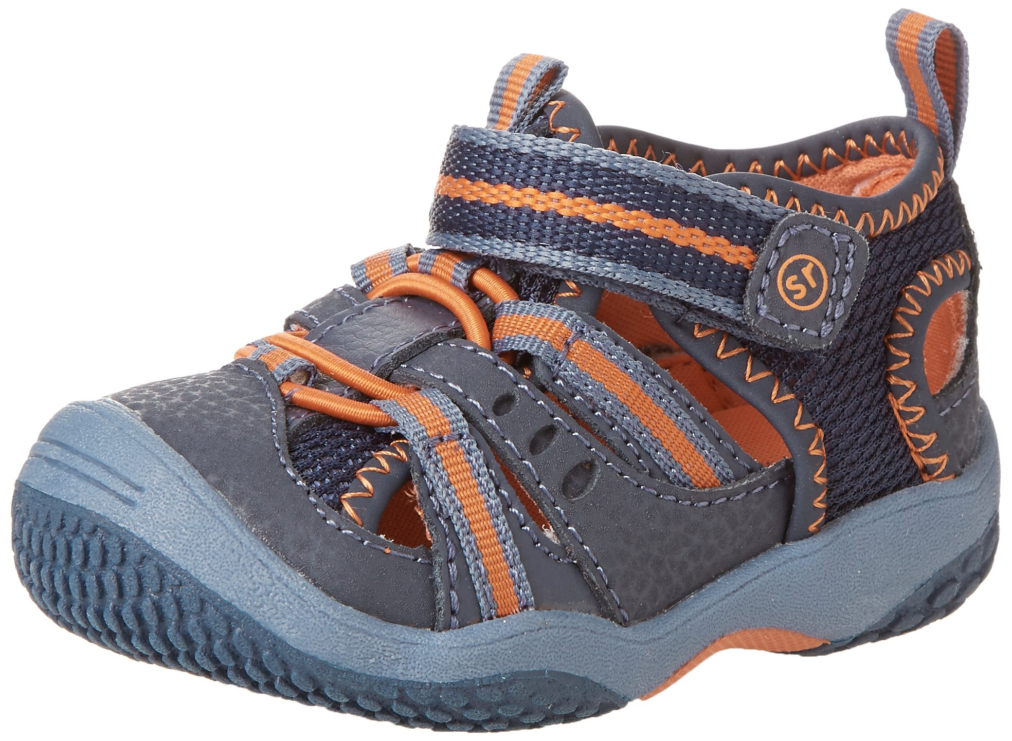 Stride Rite Baby Riff Water Sandal (Infant/Toddler),Navy/Orange,4 M US Toddler
