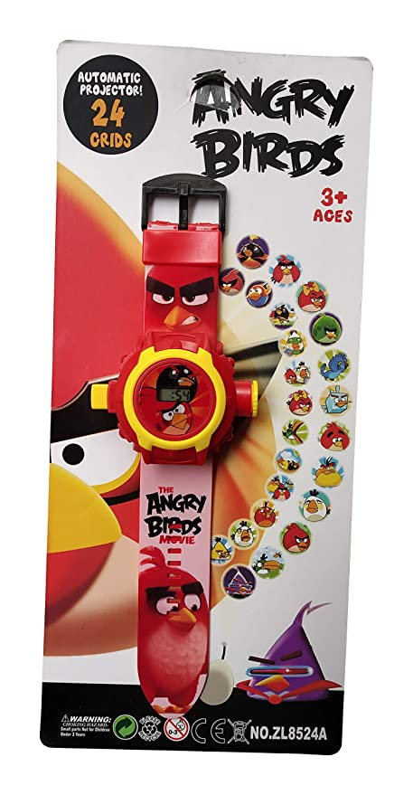 axelleindia Kid's Projector Toy Watch with 24 Automatic Projector Grids Education Grid Projector Toy(Best for Birthday Gift and Kids Gift). (Angery Birds)