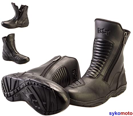 BOLT R34 Medio Turismo Hyper Moto Cremallera Doble Impermeable Botas Negro (44 EU/10