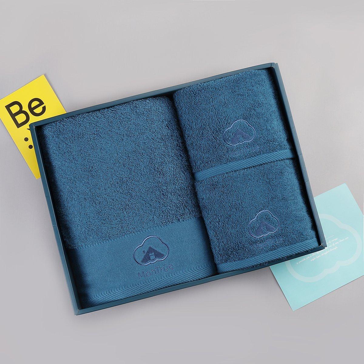 MonTrüe Luxus 500 gsm de Grosor wasserabsorbierendes Toalla Juego de Toalla, 1 y 2 Toallas de Mano, 100% algodón, Pavo Real Azul: Amazon.es: Hogar
