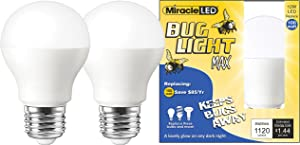Miracle LED Yellow Bug Light MAX - Replaces 100W - A19 Outdoor Bulb for Porch and Patio - 36 Pack (604996)