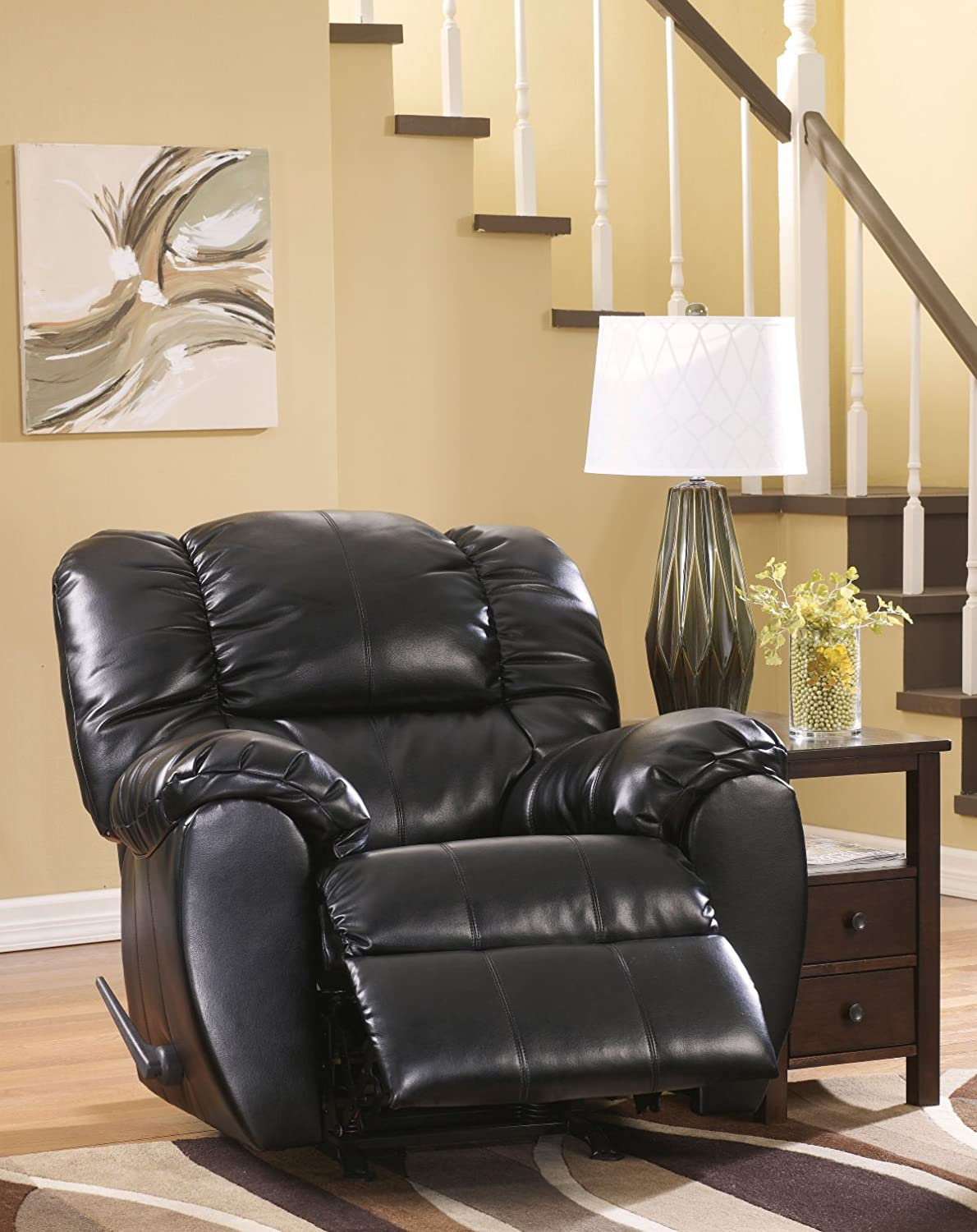 Amazon.com: Contemporary Onyx Dylan DuraBlend Rocker Recliner: Kitchen U0026  Dining