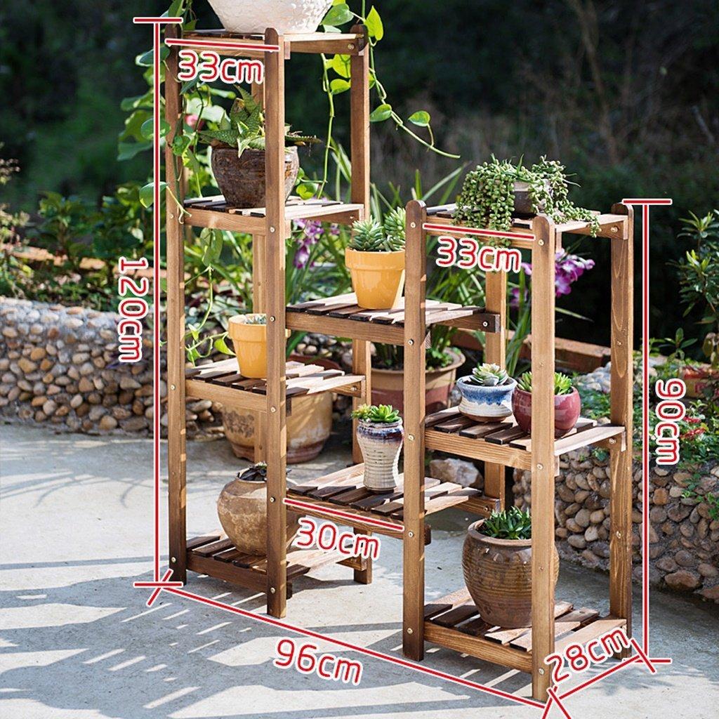 Espositore per piante con espositore per piante da Mensola per fiori in legno massello pavimento in legno multi-strato spazio vaso di fiori cremagliera balcone soggiorno interno (dimensioni  96  28