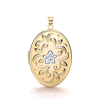 9ct Oro Blanco Oval Medallón grabado Gratis