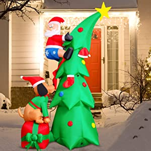 7FT Inflatable Christmas Tree Decorations Inflatable Santa Being Chased Up The Tree,Christmas & X'mas Yard Inflatables with LED Christmas Lights – Wacky, Funny, Colorful, Festive Holiday Spirit