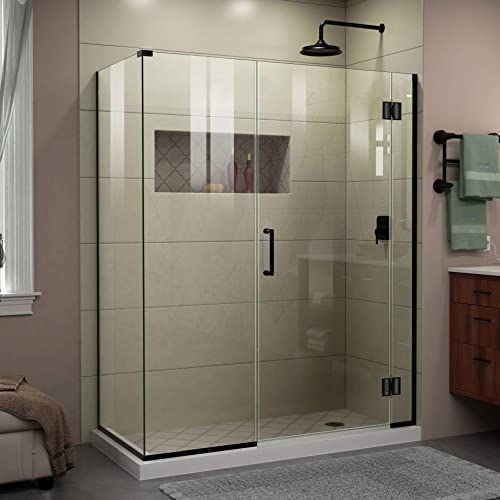 DreamLine Unidoor-X 57 in. W x 34 3 8 in. D x 72 in. H Frameless Hinged Shower Enclosure in Satin Black, E1292234-09