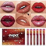 Yelna 6Pcs/Set Matte to Glitter Liquid Lipstick Set, Diamond Shimmer Glitter Lipgloss Waterproof Long Lasting Lipstick Not St