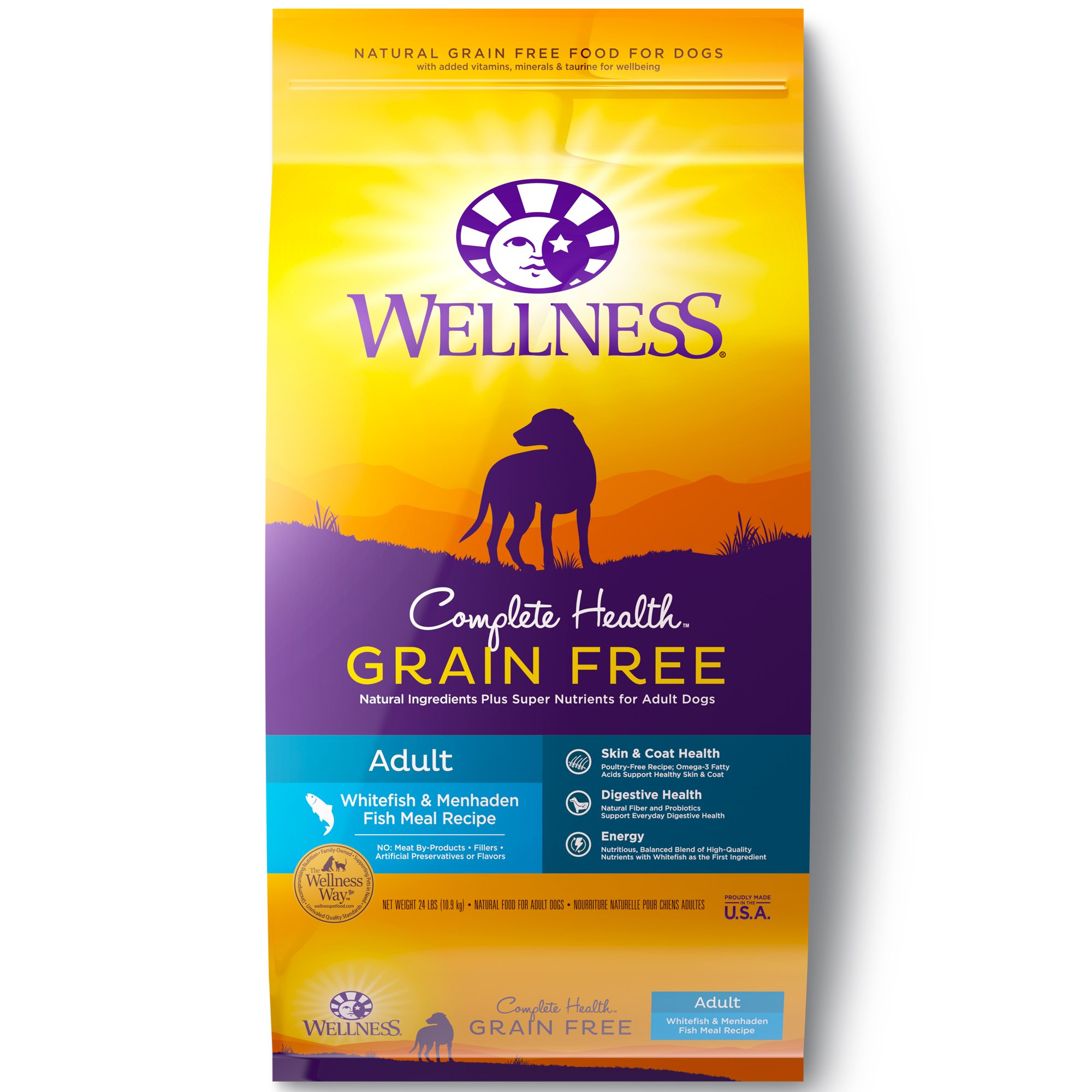 Wellness Complete Health Natural Grain Free Dry Dog Food, Whitefish, 24-Pound Bag by Wellness Natural Pet Food