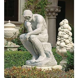 Design Toscano Rodin's Thinker Man Statue, Estate, 25 Inch, Polyresin, Antique Stone