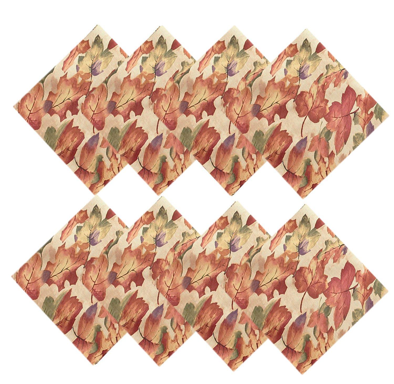 Harvest Leaf Festival Autumn and Thanksgiving  Fabric Print Napkin Set, Set of 8 Napkins