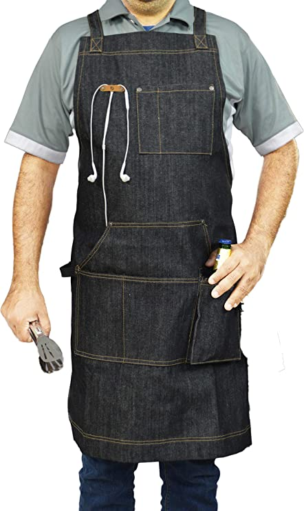 Utility Pocket Apron Great for Tools Gadgets and the BBQ Grill Clean Handy Black