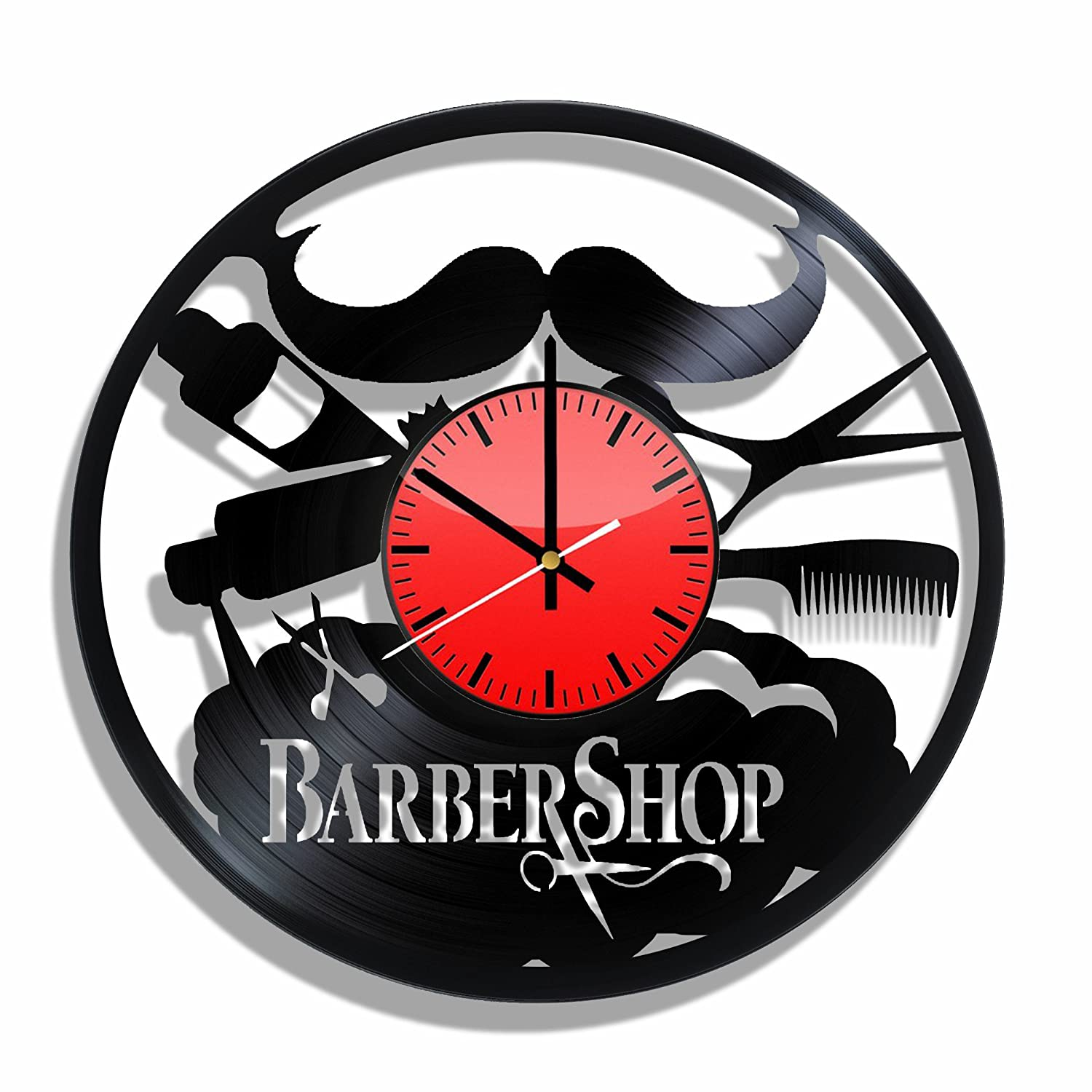 Amazon barber shop wall clock made from real vinyl barber amazon barber shop wall clock made from real vinyl barber shop design poster barber shop decal home kitchen amipublicfo Gallery