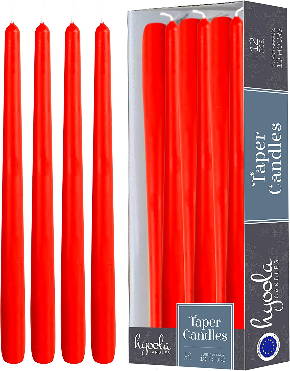 Hyoola 12 Pack Red Tall Taper Candles - 12 Inch Red Dripless, Unscented Dinner Candle - Paraffin Wax with Cotton Wicks - 10 Hour Burn Time.