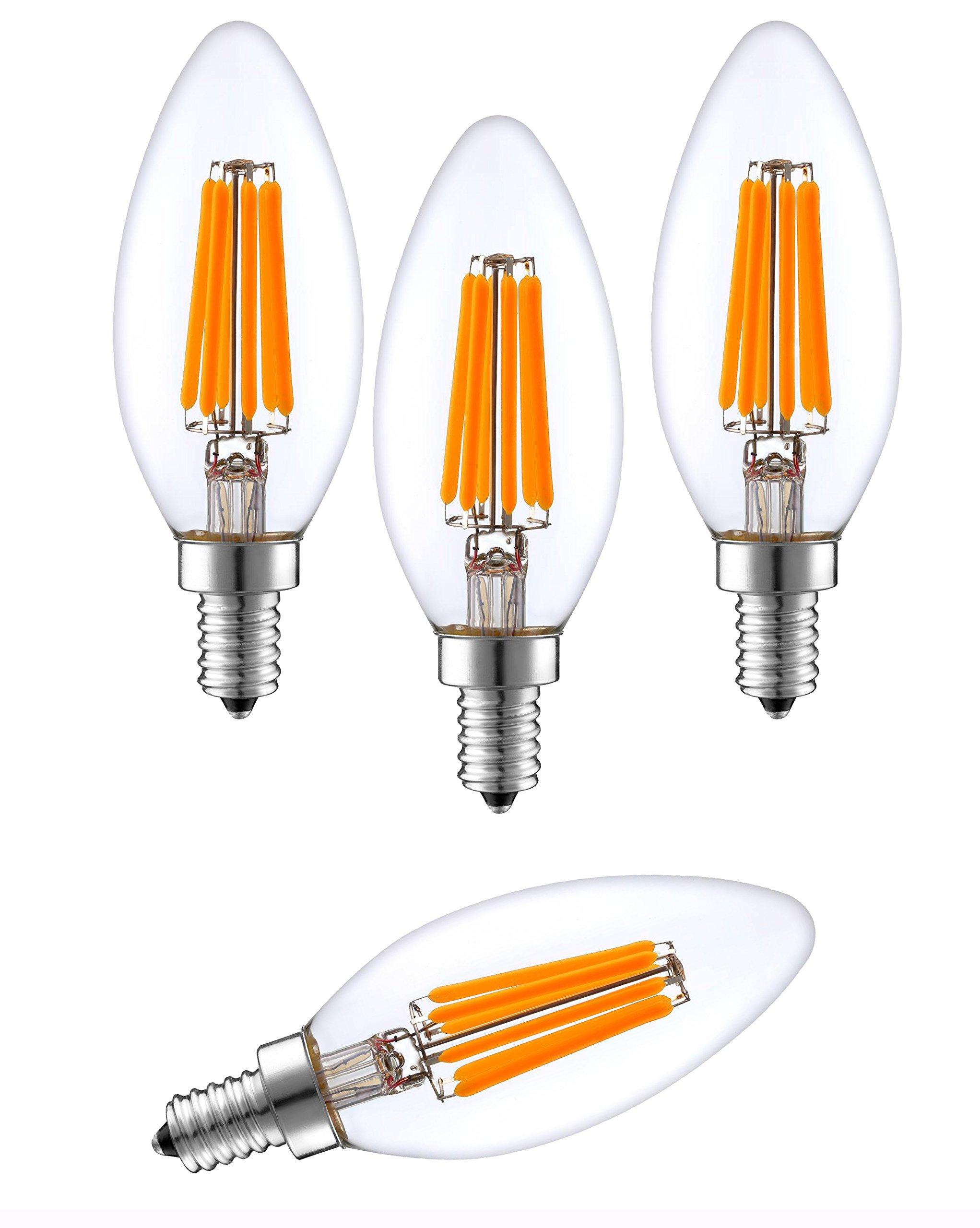 SleekLighting 6-Watt E12 LED Filament Candelabra Light Bulb - Dimmable (60W Incandescent Replacement) - Warm White 2700K Decorative Chandelier Bulb - E12 Base 4pack (Torpedo Clear)
