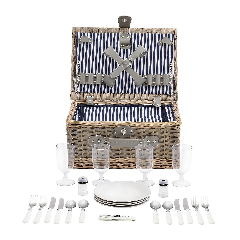[casa.pro]® Panier de pique-nique pour 4 personnes Incl. vaisselle, couverts, sac isotherme et verres - blanc/bleu