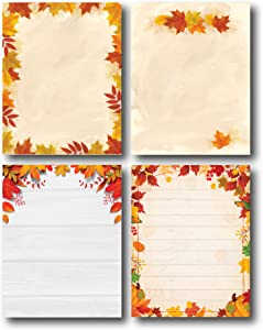 Fall Leaves Stationery Variety Pack - 4 Unique Autumn Designs - 80 Sheets