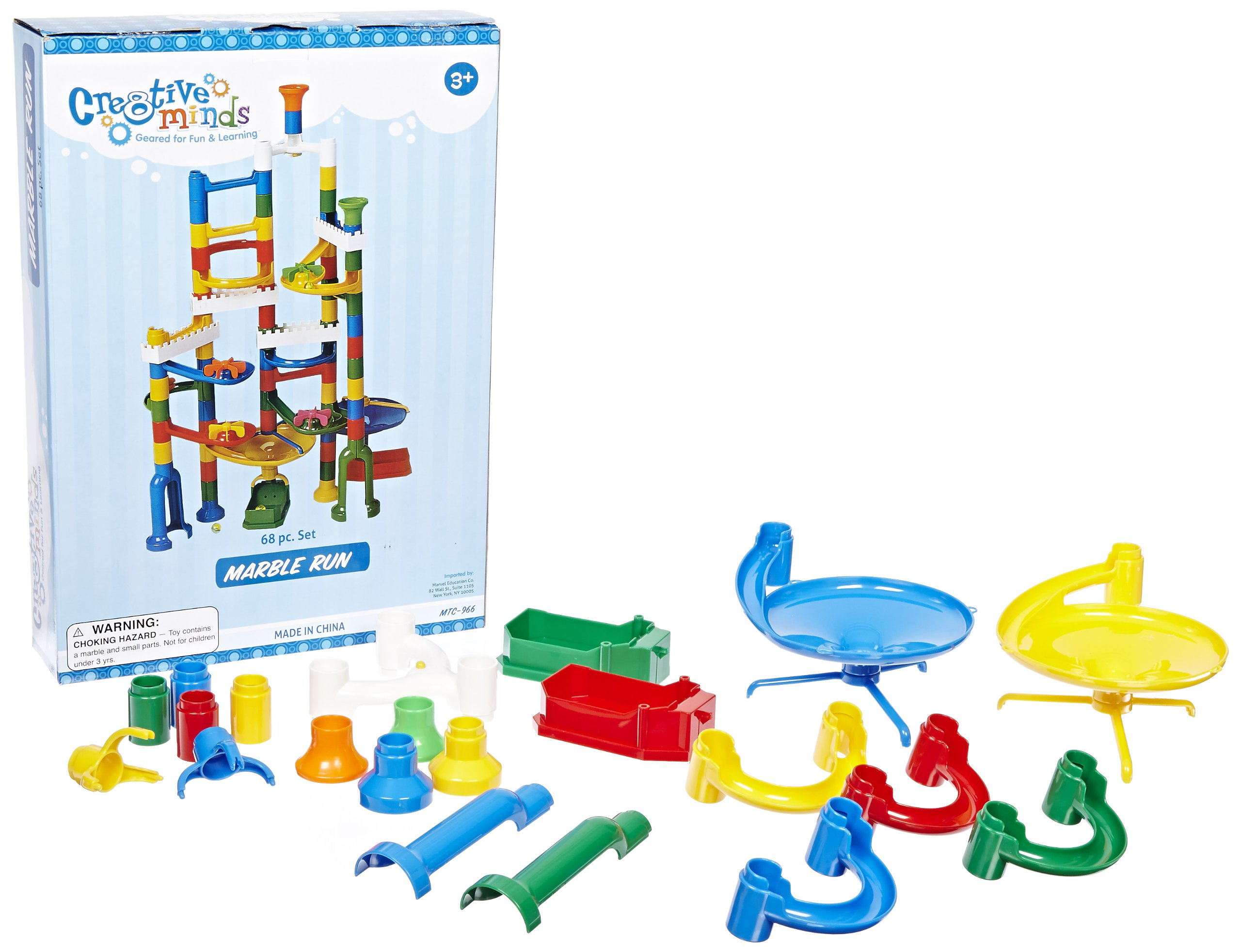 Marvel Education Marble Run Kit with 12 Marbles - 68 Piece Set