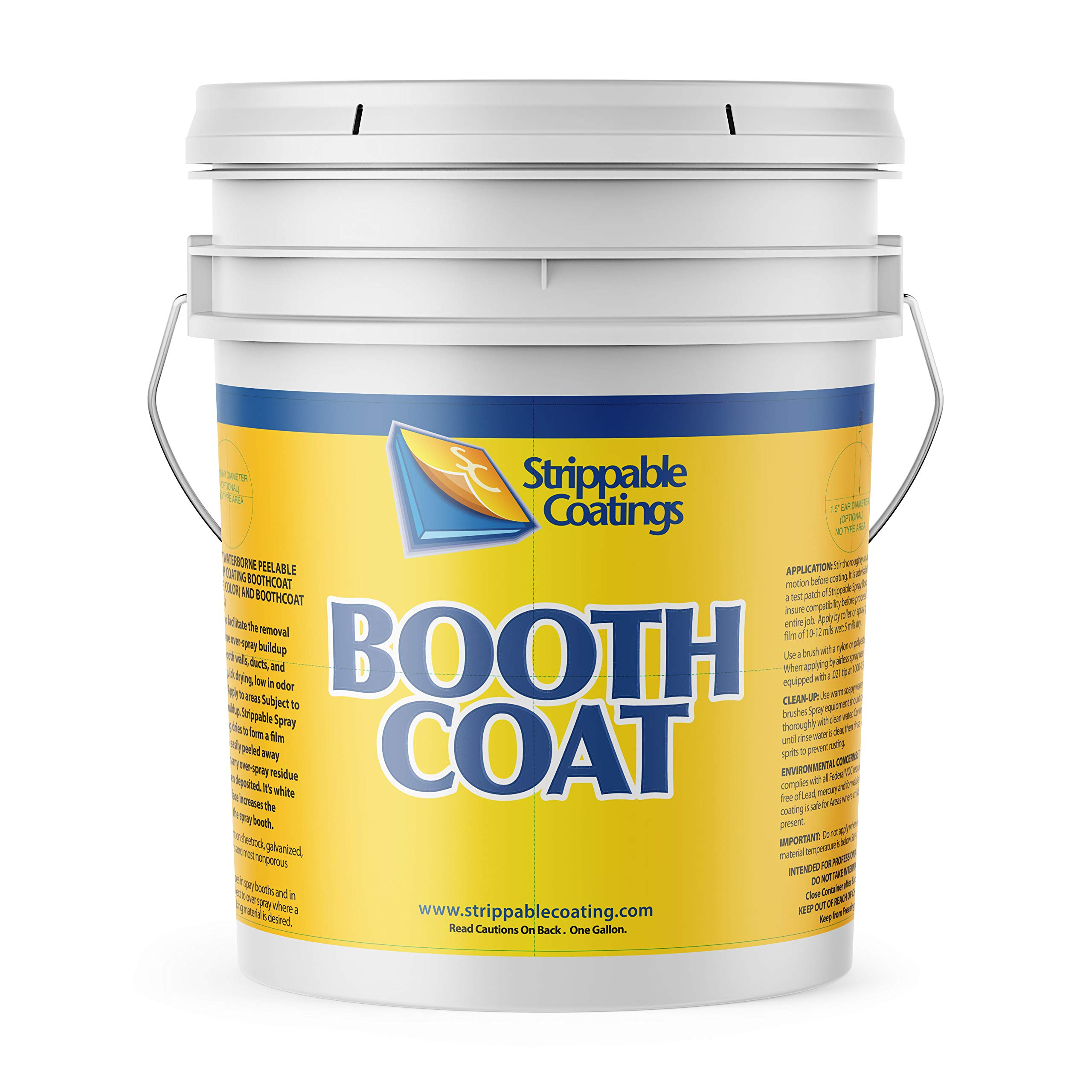GeneralChemical BOOTHCOAT 5201   Paint Booth Coating Protective Paint   White Peelable Coating Paint for Walls, Ceilings, and Light Fixtures   Water Based (5 Gallons)