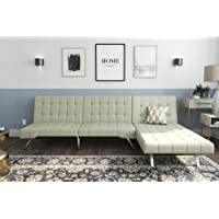 DHP Emily Sectional Futon Sofa with Convertible Chaise Lounger (Vanilla Faux Leather)
