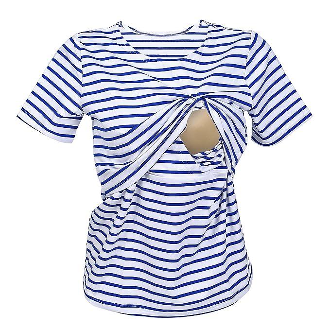 UTOVME Mujeres Camiseta de Lactancia Premamá Camisa de Maternidad Ropa de Enfermería, Rayado con Mangas Cortas: Amazon.es: Ropa y accesorios