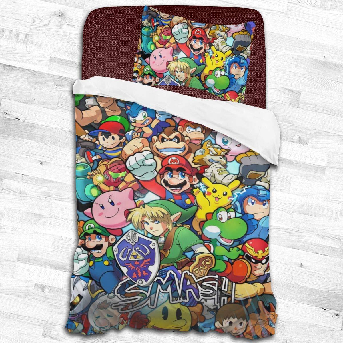 Yellowbiubiubiu The Legend of Zelda Sonic Pikachu Super Mario Smash Bros Kirby 2 Piece Bedding Set Ultra Soft Zipper Closure Bedding Set 3D Single Print Bedding Set Single Bed with 1 Pillow Shams Set