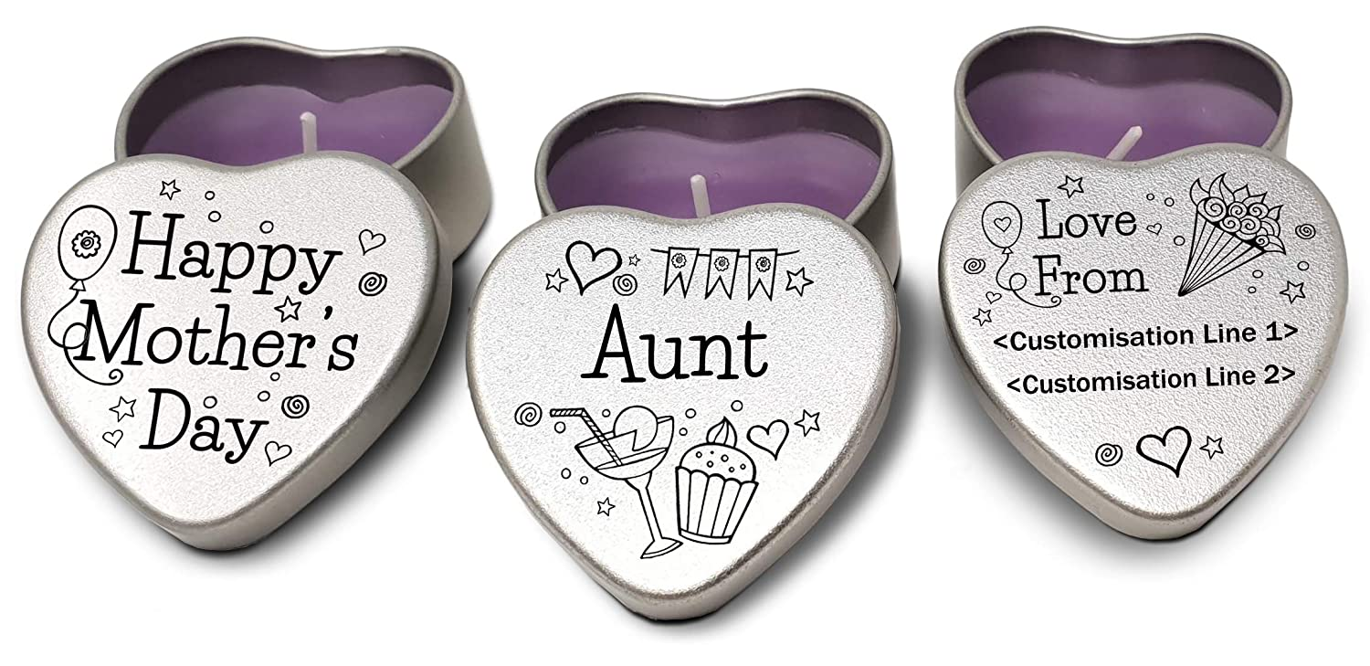 Perfect gift for mum Set of 3 silver mini heart tins filled with purple tealight style candles Sister Set of 3 personalised Mother/'s Day Candles 3 designs to choose from Customisable.