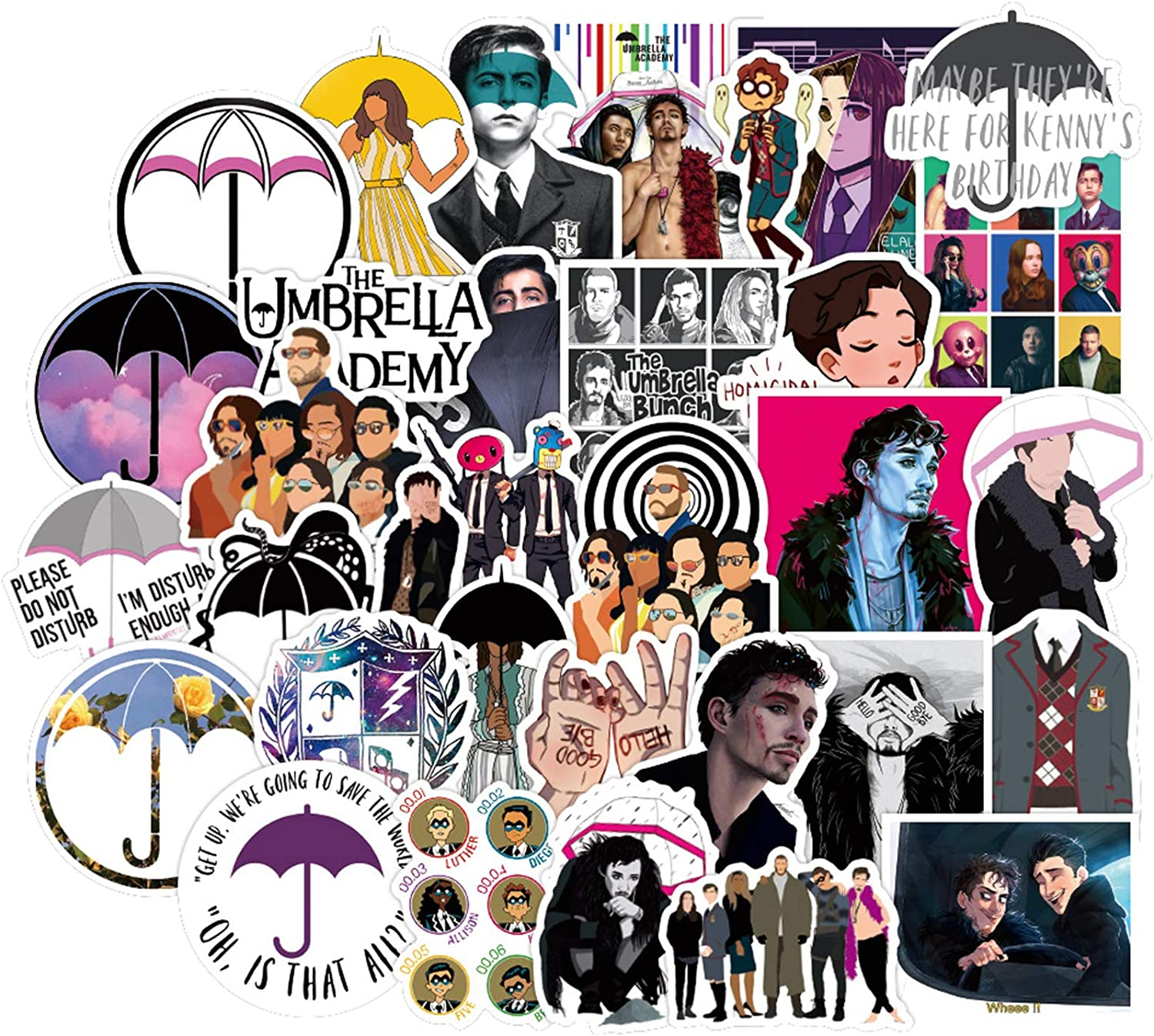 50Pcs The Umbrella Academy Stickers for Water Bottle Cup Laptop Guitar Car Motorcycle Bike Skateboard Luggage Box Vinyl Waterproof Graffiti Patches JKT