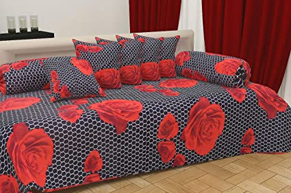 Choice Homes ™ Cotton diwan Set 8 Pieces of Combo 5 Cousins 2 Bolster Cover with Single bedsheet(Multicolour)