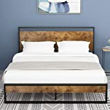 Amolife Queen Bed Frame with Headboard/Platform Metal Bed Frame with Footboard/Mattress Foundation/Strong Slat Support…